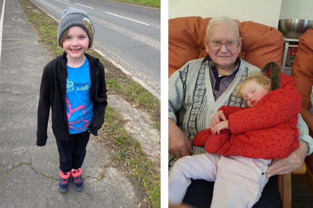Six-year-old Ava Combes from Havant completed a Memory Walk to support Alzheimer's Society after losing her great grandad Bud Macleod to the condition