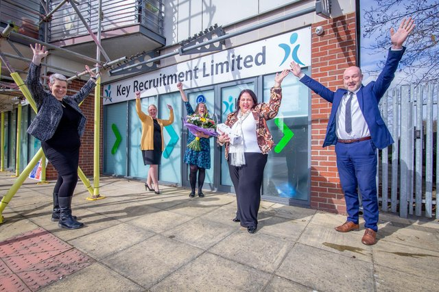 Key Recruitment is one of the longest established recruitment companies in the area and are celebrating their 21st birthday Pictured: Staff of Key Recruitment, Tori Stevens, Michelle Welsby, Ann Oxley, Monica Key and Graham Felton on 7 April 2021Picture: Habibur Rahman