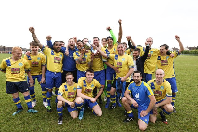 Meon Milton after winning the Mid-Solent League title. Back (from left) Harvey Cooper, Dan Gedling, Adam Beckett, Jagjit Singh, Dale Holmes, Matt Hickley, Bic Singh, Sam Fowler, Chris Foy, Aran Singh, Lewis Fisher, Andy Edwards, Dan Edwards, Gareth Bailey, Barry Jeans, Dylan Futcher. Front: Matteo Berogna, Bayley Whitcombe, Bill Cook, Ryan Brown. Picture: Chris Moorhouse