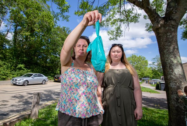 Pictured: Lisa Boyd and Louise Browne with the mysterious substance in a bag outside their home in Waterlooville on 8 June 2021  Picture: Habibur Rahman