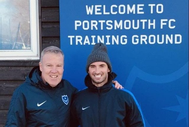 Jaymee Hitchcock with Kenny Jackett at Portsmouth's Roko training ground.
