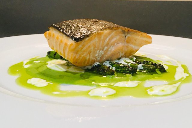 Salmon, charred asparagus, yoghurt and chive oilby Lawrence Murphy