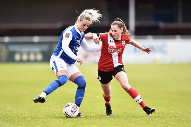 Alisha Ware (right) in action for Southampton during their Women's FA Cup 5th round defeat at Birmingham City at the weekend - the club's first competitive defeat of the season. Photo by Nathan Stirk/Getty Images.