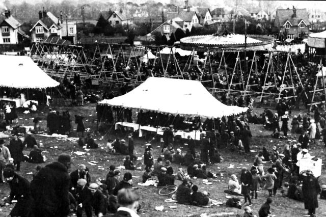 The fairground on the slopes of Portsdown Hill, 1930.  It was located to the west of the old A3.