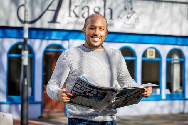 Owner Faz Ahmed of Akash, Southsea for We love the News campaignPictured: Faz Ahmed at Akash restaurant, Southsea on 18 February 2021.Picture: Habibur Rahman