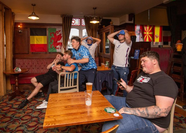 Fans at the Green Post, Hilsea, Portsmouth on 19 June 2021  Picture: Habibur Rahman