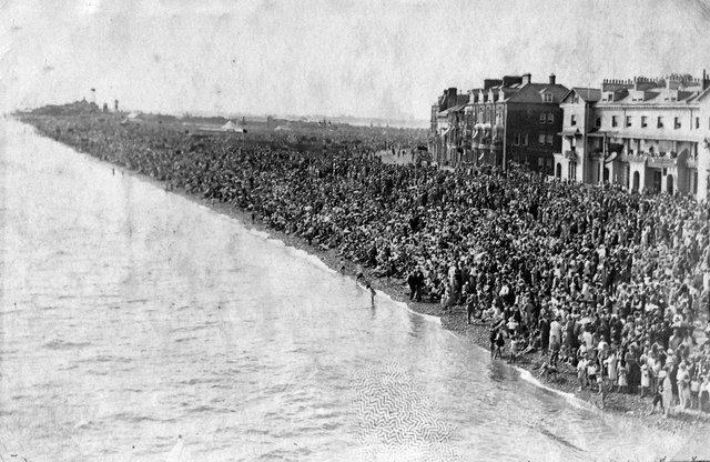 A packed Southsea beach in the 1920s, but what was the occasion?