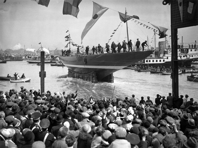 April 1934:  The launch of Tommy Sopwith's all-steel yacht Endeavour, this years challenger for the America's Cup, at Gosport, Hampshire.  (Photo by A. Hudson/Topical Press Agency/Getty Images)
