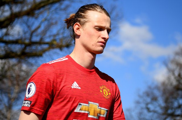 ENFIELD, ENGLAND - MARCH 19:  Max Taylor of Manchester United takes to the field during the Premier League 2 match between Tottenham Hotspur and Manchester United at Tottenham Hotspur Training Centre on March 19, 2021 in Enfield, England. (Photo by Alex Davidson/Getty Images)
