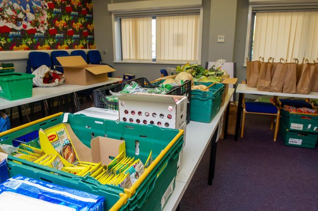 Some of the food available at Landport Community Centre, Portsmouth on 20 April 2021  Picture: Habibur Rahman