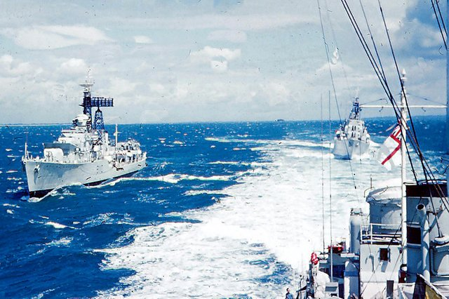 HMS Delight on the starboard quarter with HMS Dainty manoeuvring astern.  Picture: Tim King