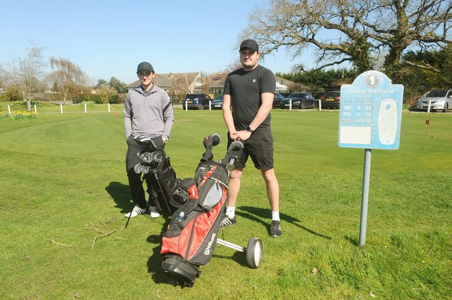 Brothers (l-r) Joe Dorsett (23) from Portchester and Tommy Dorsett (27) from Paulsgrove, both booked the day off work to play a round of golf with each other. Picture: Sarah Standing