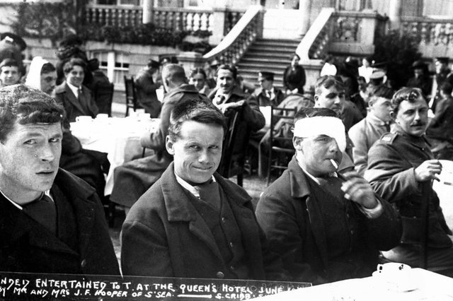 Wounded soldiers being entertained at the Queen's Hotel, Southsea, during the First World War. Picture: Stephen Cribb