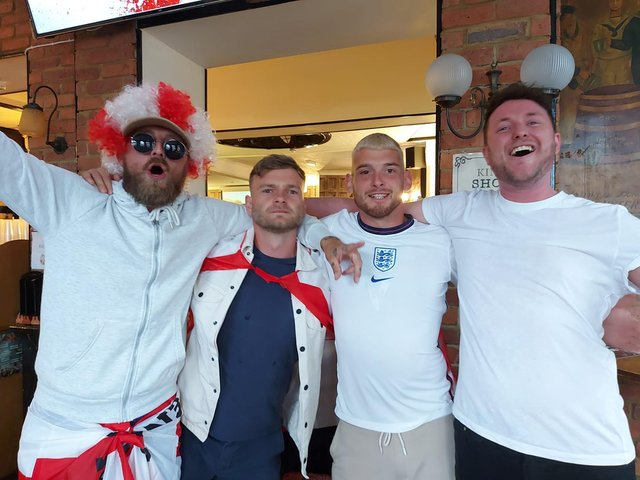 Kurt Lee, 35, Eugene Sharp, 29, Kyle Ward, 29 and Dan Fiford, 32 all from Southsea, at the Kings pub in Albert Road.