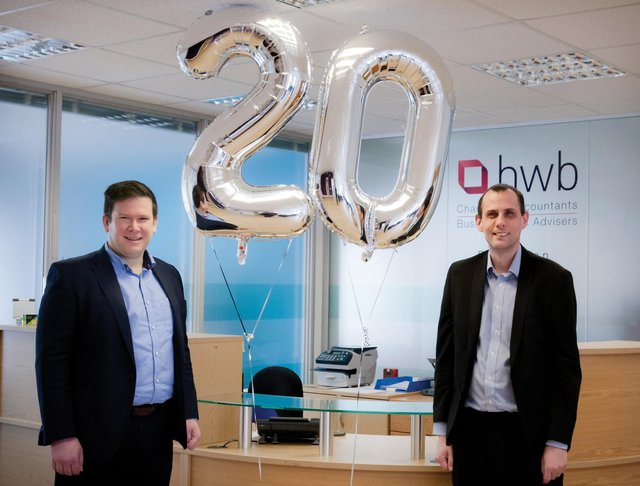 Associate Director Andrew Kershaw and Business Adviser Chris Wignall celebrate 20 years at HWB.