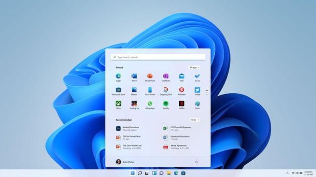 The new Windows 11 start screen. Picture: Microsoft/PA Wire