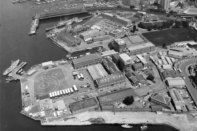 An aerial view of HMS Vernon, Portsmouth on October 5, 1981. The News PP4255