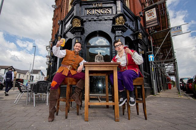 Dick Whittington and Silly Billy outside The Kings pub, Albert Road. Picture: Habibur Rahman