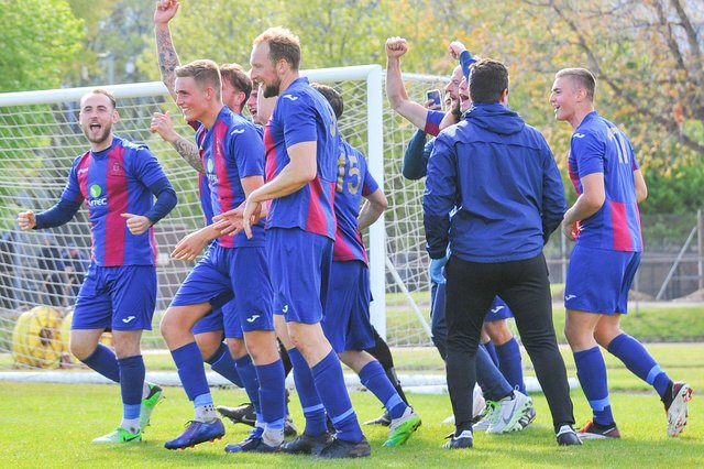 US Portsmouth celebrate after beating Bemerton on penalties to reach the Wessex League Cup for the first time in the club's history. Picture: Martyn White.