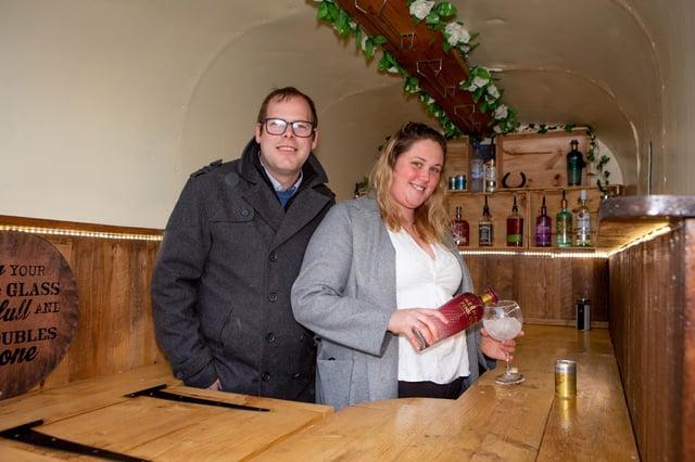 Scott and Chloe Armstrong in their horsebox gin bar. Picture: Habibur Rahman