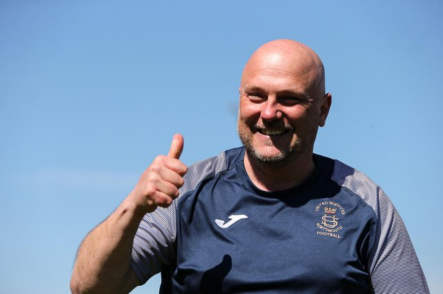 Thumbs up - US Portsmouth boss Glenn Turnbull after last weekend's penalty shoot-out win against Christchurch. Picture: Chris Moorhouse
