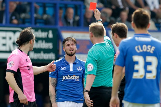 Kieron Freeman saw red in his last Pompey appearance against Northampton at the end of the 2015-16 season  Picture: Barry Zee