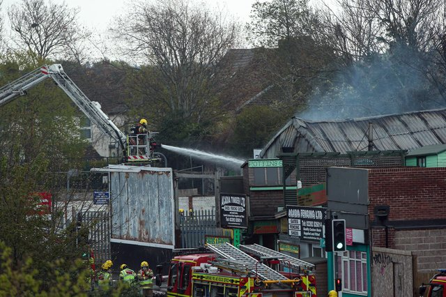 Firefighters at the scene. Fire in Goldsmiths Avenue, Southsea. Picture: Chris Moorhouse (jpns 280421-14)