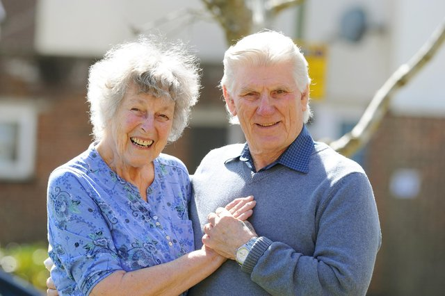 Molly and her husband Alan Jones from Denmead, celebrated their Diamond Wedding Anniversary on Thursday, March 25. Picture: Sarah Standing (290321-2939)