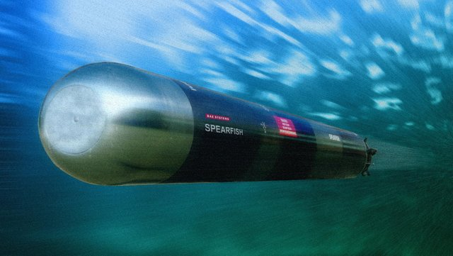 A computer generated image of a Spearfish torpedo.