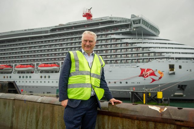 Pictured: PCC leader, Gerald Vernon-Jackson in front of the cruise ship, Scarlett Lady at Portsmouth International Port  Picture: Habibur Rahman
