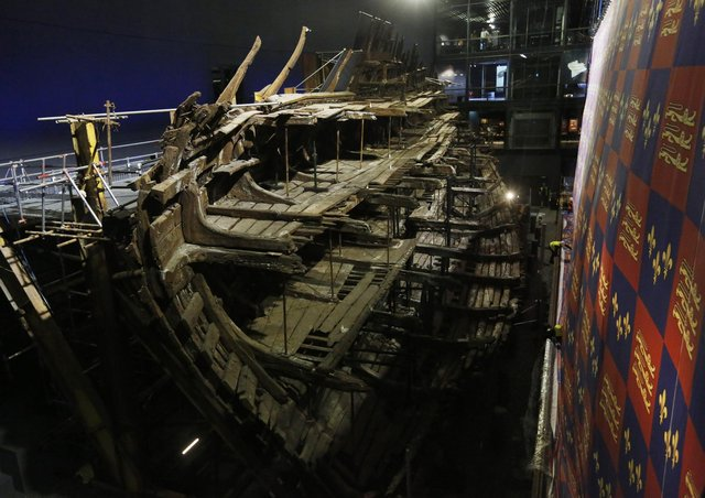 Henry VIII's warship, the Mary Rose in Portsmouth. Photo by Olivia Harris/Getty Images