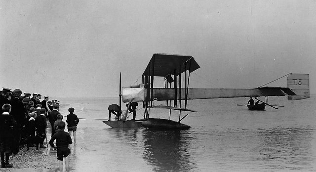 Hydroplane (seaplane) off Eastney beach 1919.   Believe it or not, just 25 years after this photograph was taken there were jet aircraft flying the worlds skies. Picture: Barry Cox collection.