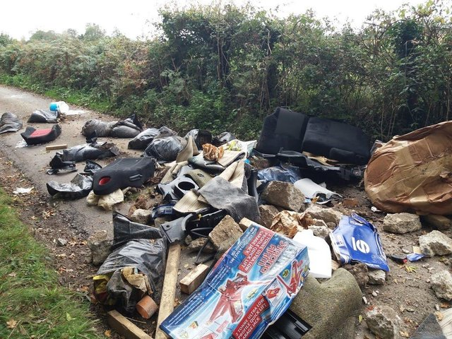 Waste dumped in Lone Barn Lane in Catherington. Picture: East Hampshire District Council
