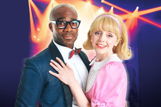 Ore Oduba stars as Brad with Haley Flaherty as Janet in The Rocky Horror Show at Mayflower Theatre. Picture by Shaun Webb