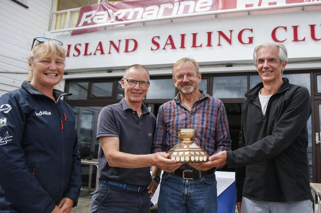 Pip Hare, who competed in the 2020/21 Vendee Globe around the world race, with Gold Roman Bowl winners Eeyore at the Island Sailing Club in Cowes. Picture:  Paul Wyeth
