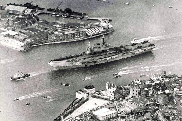 HMS Hermes leaving Portsmouth for the Falklands in 1982.