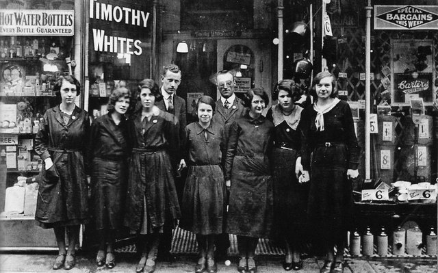 Timothy Whites' staff outside the shop in Commercial Road, Portsmouth, about 1922
