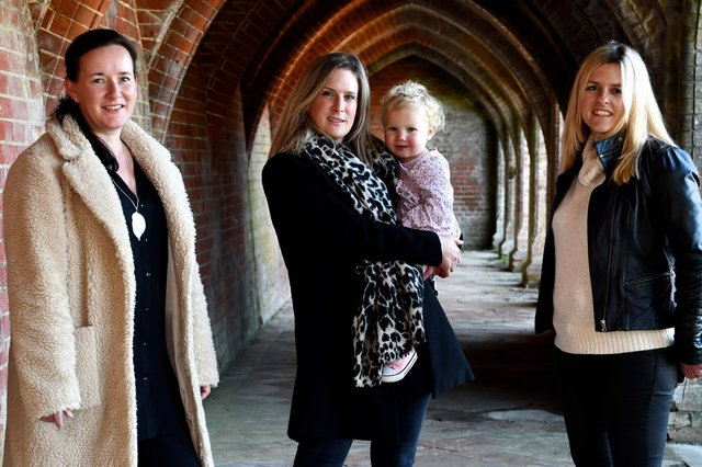 L-R Michelle Cairncross, Katherine Antrobus with daughter EsmE and Kate Gregory launch Little Ankle Biters Hampshire at Staunton Country Park