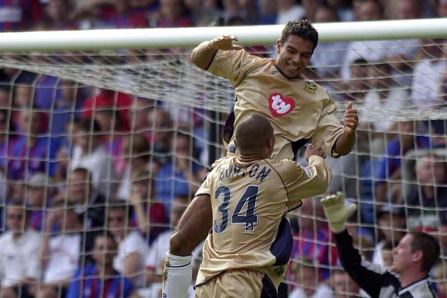Jason Crowe celebates his first goal in the 3-2 success at Crystal Palace in August 2002. Picture: Steve Reid