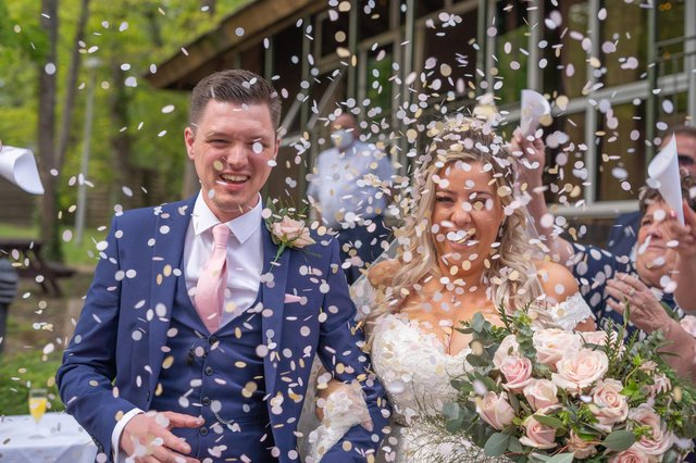 Leanne and Reece Millar on their happy day. Picture: Carla Mortimer Photography, carlamortimerweddingphotography.co.uk.