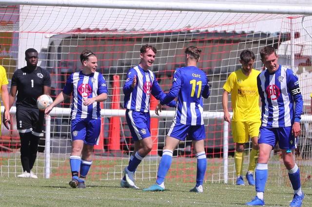 Crofton Saints' Dan Francis celebrates after scoring his side's second goal. Picture: Stuart Martin