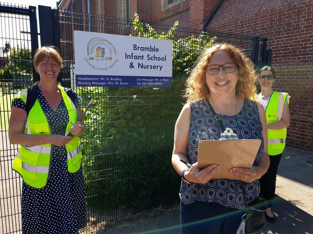 L to R: Jenni Jones, Liveable Cities & Towns Officer at Portsmouth Sustrans South, Cllr Suzy Horton, and Deborah Dalzell, a road safety officer from Portsmouth City Council.