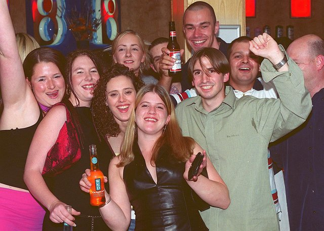Clubbers enjoying a night out at Bar Bluu in Southsea in the 00s