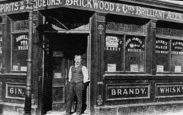 Landlord Albert Grace of The Alma Tavern, Blackfriars Road, Southsea, in the doorway of his pub