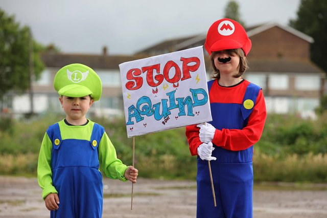 The Let's Stop Aquind walking protest against Aquind started at the Fort Cumberland car park in Eastney. Picture: Sam Stephenson