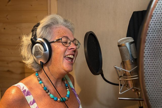 Vocalist Karen Williams (61) happy to be behind a microphone again at Therapy Room recording studio. Picture: Mike Cooter (190721)