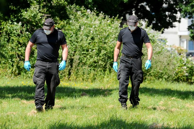 Police at the scene in Tichborne Grove, Leigh Park, on Monday, May 25, where a young man named George Allison died on Saturday evening, May 23 in 2020. Picture: Sarah Standing (250520-2779)