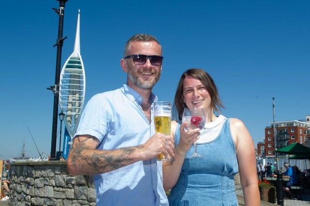 Dave and Hailey Durrant outside Spice Island Inn, Old Portsmouth on a warm sunny day. Picture: Habibur Rahman