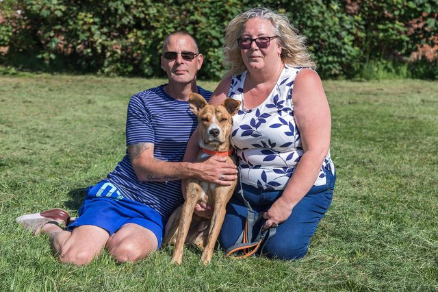 Pablo, with owners Andy Griffiths (50) and Helen Yates (50). Picture: Mike Cooter (080621)