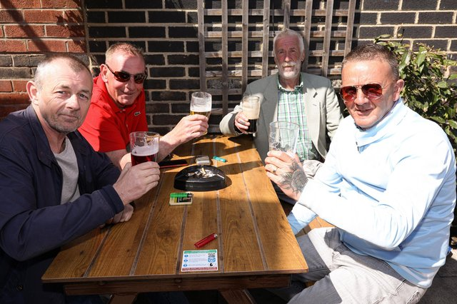 From left, Nobby Hall, Norm Jones, Rod 'Hot Rod' Webb and Ray Smith. Drinkers enjoy the sunshine at the Parchment Makers, HavantPicture: Chris Moorhouse (jpns 240421-18)